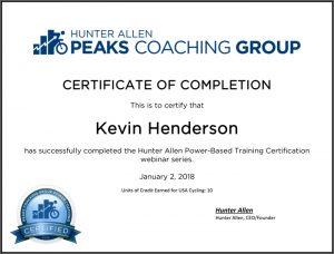 Hunter Allen Power-Based Training Certification - Kevin Henderson
