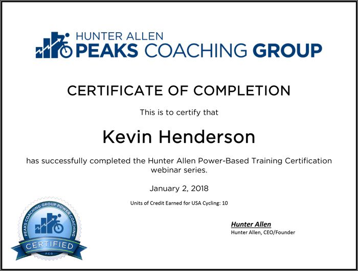 Hunter Allen Power-Based Training Certification - Kevin Henderson