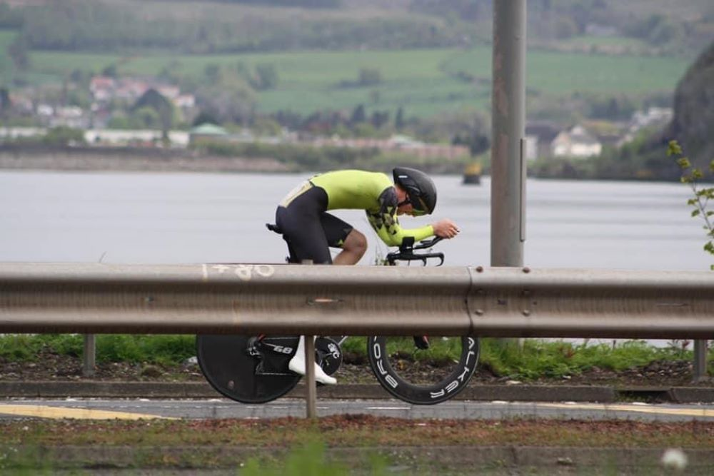 A bike rider in the time trial position