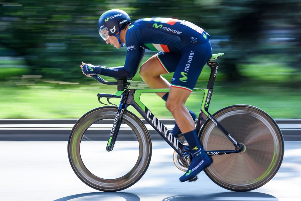 Cyclist riding in the time trial position