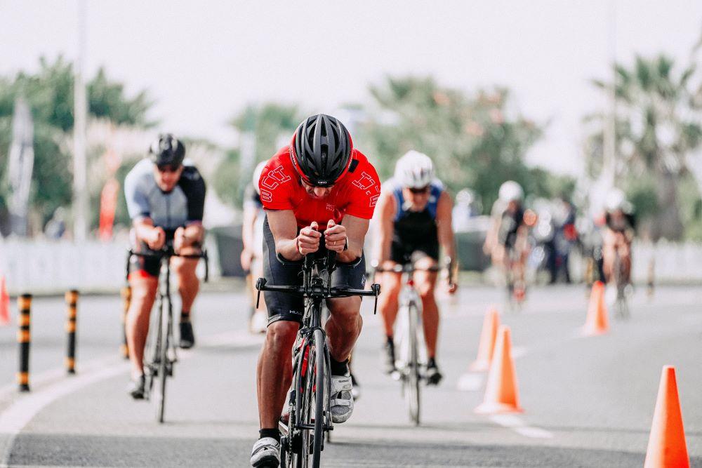 A cyclist riding using Triathlon bars