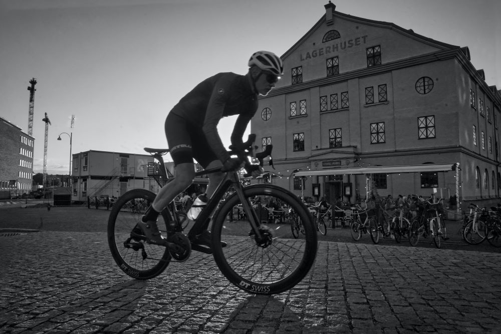 Bicycle racer in black and white